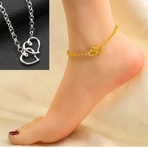 Gold Double Heart Anklet